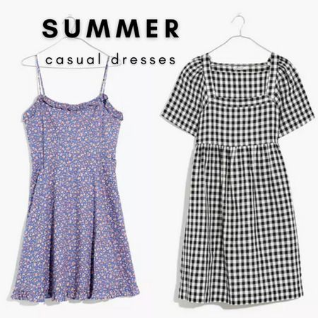 Summer casual dresses in floral and gingham.   Get these versatile dresses at Madewell today with $25 off orders of $125 with code LTKDAY  #LTKDay #LTKsalealert #LTKSeasonal