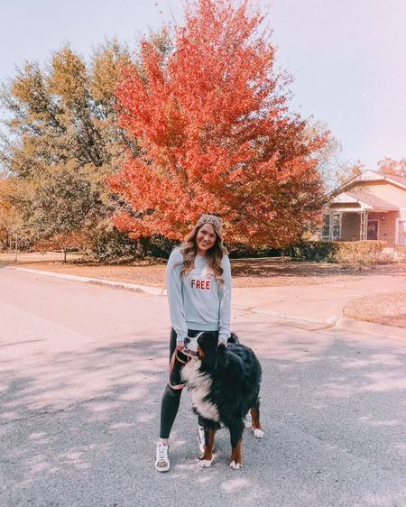 will dog sit for free 🙋🏼♀️🐶 this sweatshirt is so cozy and perfect for sunday walks with my sweet puppers....swipe too see how cuddly he got during these pics! 🥰  . . Shop your screenshot of this pic with the LIKEtoKNOW.it shopping app @liketoknow.it #liketkit http://liketk.it/2Gufz