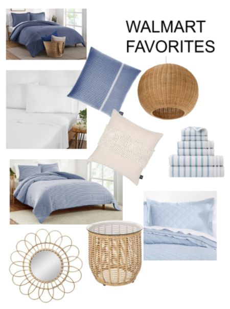 Coastal Guest room faves found @walmart . Table Bedding, comforters, coverlets, decorative pillows  Mirror  Towel Woven rayan light pendant  Blue gap home collection  #sponsored  walmartfinds  #Walmarthome      #LTKhome
