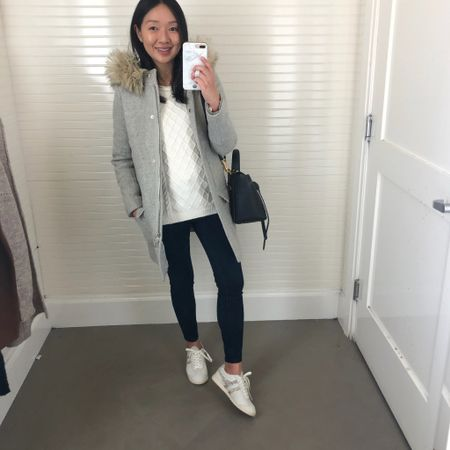 Yesterday's outfit. This J.Crew Chateau jacket is still a favorite of mine. I have it in size 00 regular from a few years ago. Also how cute are these cheetah detail sneakers? They run a bit small but I took my usual size. @liketoknow.it http://liketk.it/2GuF6 #liketkit #LTKsalealert #LTKshoecrush #LTKunder100