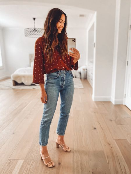 Top is old, but jeans and sandals are current (and classic!)   #LTKSeasonal #LTKshoecrush #LTKstyletip