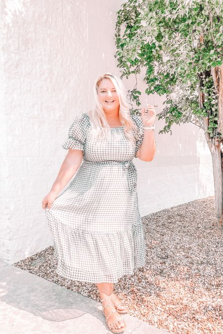 Black gingham, wedding guest dress, summer dress, midi dress, studded sandals http://liketk.it/3g1Al #liketkit @liketoknow.it #LTKunder50 #LTKwedding #LTKshoecrush