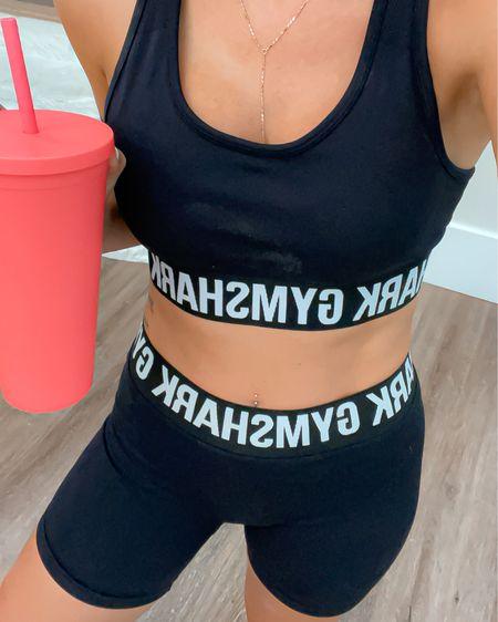 Fitness workout outfit Gymshark bike shorts size small. Sports bra size small. Adidas running shoes on sale. Amazon tumbler mug   http://liketk.it/3hG7z #liketkit @liketoknow.it #LTKunder50 #LTKfit #LTKsalealert