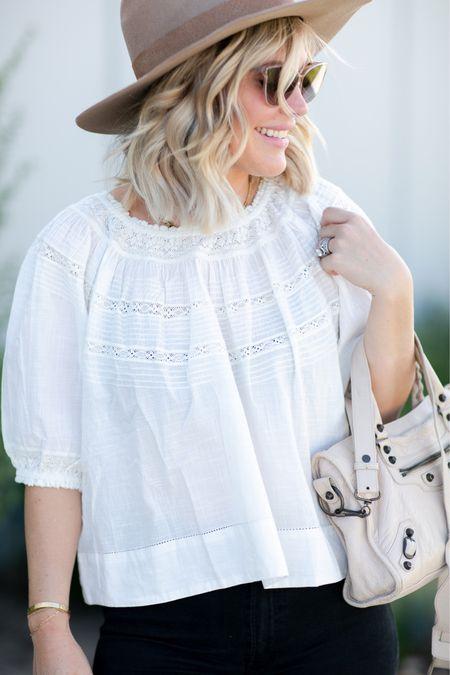 Welcome back to fall ✨ the great white top, balenciaga bag, felt fedora, krewe sunglasses