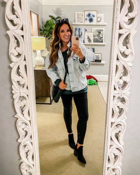"""Moms night ❤️ 5'7"""" 163lbs - wearing a size 10 in jeggings, large in denim jacket and top, shoes true to size http://liketk.it/3dCKY #liketkit @liketoknow.it"""