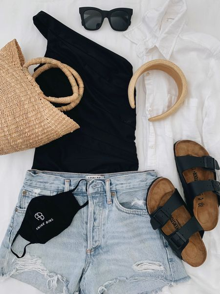 Beachwear. What's to wear to the beach. Summersalt swim   One piece - Summersalt 2 Shorts - AGOLDE 24 Sandals - Birkenstock's 4-4.5 narrow  Headband - & other stories (old) Coverup - Aritzia xxs (old, linked similar) Bag - Dear Keaton  http://liketk.it/3hSUZ #liketkit @liketoknow.it #LTKswim
