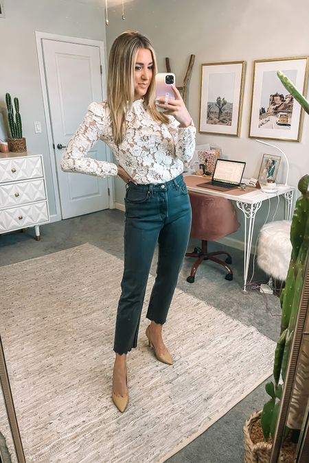Best jeans for summer! Top is lace and runs TTS @liketoknow.it #liketkit http://liketk.it/3i0t0 #LTKunder100 #LTKshoecrush #LTKsalealert