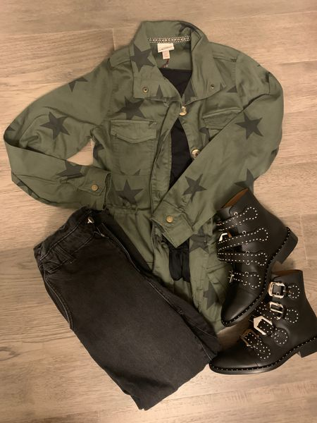 Fall outfit. Olive jacket. Surplus jacket. Shacket. Fall jacket. Splurged on the boots. Saved on everything else. Under $50. Target style. Mom jeans. Gray wash denim. Black wqsh denim. Studded boots. Black boots.   #LTKstyletip #LTKshoecrush #LTKunder50