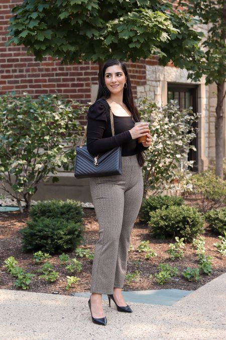 Puff sleeve square neck long sleeve top in black Liverpool work pants Stretchy gingham pants  Crop flare pant Fall pants   #LTKcurves #LTKunder100 #LTKstyletip