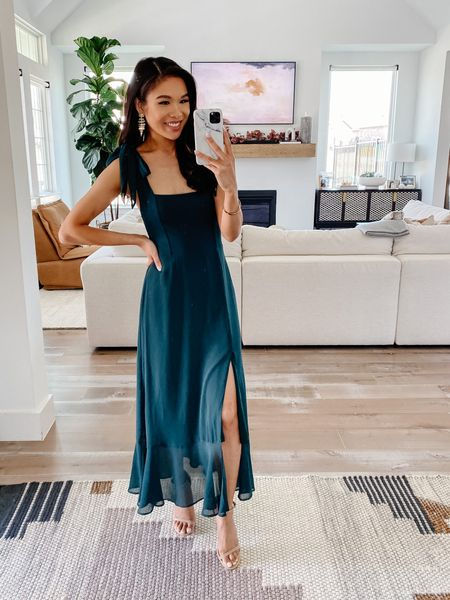 Fall wedding guest dress made in the USA. Love this emerald dress made of chiffon and it comes with an optional sash you can tie around your waist or the straps. Dress is lined and figure flattering. Comes in many colors and fabrics so it would be beautiful for bridesmaids dresses, too.   #LTKwedding #LTKstyletip