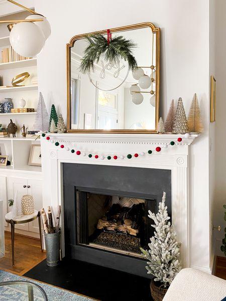 Target holiday decor, mantle style, garland, holiday wreath, joy wreath, bottle brush trees, fireplace, Christmas trees, Christmas decorations   #LTKhome #StayHomeWithLTK