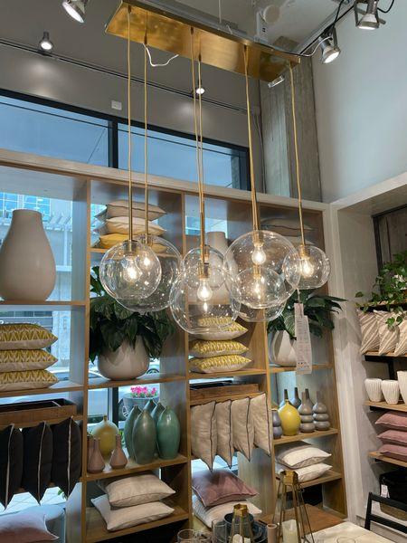 Brass and gold modern chandelier globe glads shades   #LTKhome #LTKstyletip