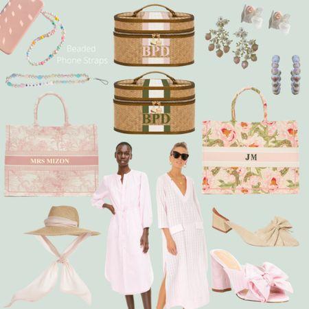 Pretty pink and green things 🌿 Sunhat, feminine earrings, beaded phone straps, custom makeup cases and canvas totes, easy breezy dresses, and the cutest shoes! @liketoknow.it http://liketk.it/3h6Ko #liketkit #LTKshoecrush #LTKunder100 #LTKitbag #grandmillenial #sunhat #pinkandgreen #feminine