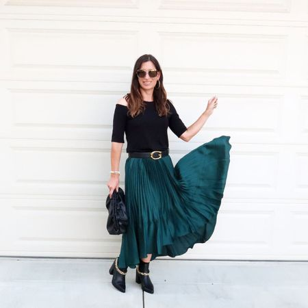 Dressy fall outfit ideas to wear now and into the holidays ❤️🍁 this skirt is so much fun! 💃🏻   #LTKitbag #LTKshoecrush #LTKstyletip