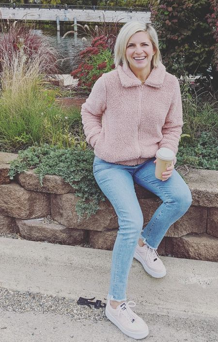 Keeping it warm and cozy with my blush sherpa bomber, comfy jeans and ☕☕☕. This jacket makes me excited for chillier weather!   #LTKstyletip #LTKFall #LTKshoecrush