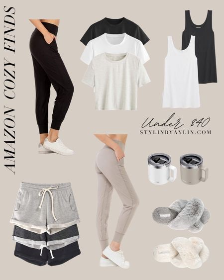 Amazon cozy finds, Amazon under $40, loungewear, athleisure, neutral comfort clothing, slippers, Yeti mugs #StylinByHome  #LTKstyletip #LTKunder50