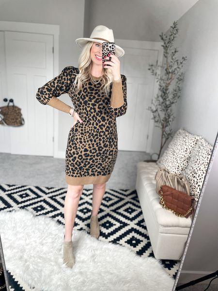 Walmart outfit  Leopard sweater dress - medium    #LTKSeasonal #LTKstyletip #LTKunder50