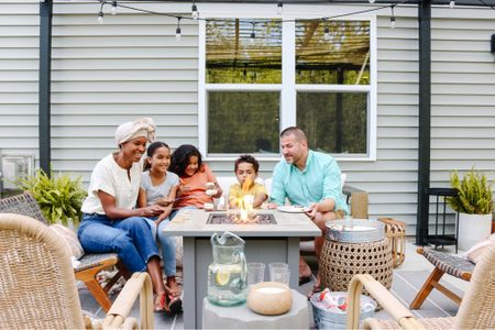 Labor Day plans- outdoor movie and smores! Fire pit, outdoor furniture, patio furniture, outdoor rug #competition  #LTKSeasonal #LTKhome #LTKfamily