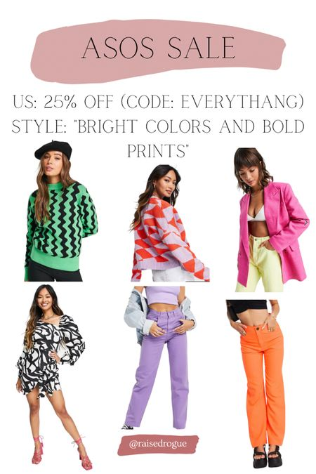 IG experts say bright colors and bold prints are a trend to try this fall!   Sharing some items that are 25% off in the US with code: EVERYTHANG  Sweaters   Cardigans   90s jeans   Bold prints     #LTKunder100 #LTKstyletip #LTKunder50