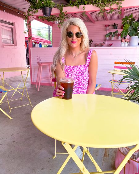 Pink zebra print tank top size medium  Pink zebra print shorts size M  White booties nsale TTS - multiple colors and worn year round.  Brown aviator sunglasses  Two piece set, vacation outfit, summer outfit, bracelet stack 20% off until Friday  Hot pink lipstick Drugstore gloss   http://liketk.it/3jzdG #liketkit @liketoknow.it #LTKsalealert #LTKshoecrush #LTKunder100
