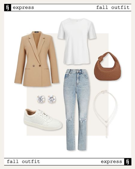 Fall outfit inspo - everything is under $120 plus extra discounts during the #ltksale right now! #falloutfit #fallfashion #weekendoutfit #casualoutfit #blazerlook #camelblazer #whitesneakers  #LTKsalealert #LTKSale #LTKunder100