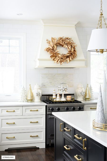 Christmas decor in gold, silver and white! Use a gilded wreath for an elegant look!  #LTKstyletip #LTKHoliday #LTKhome
