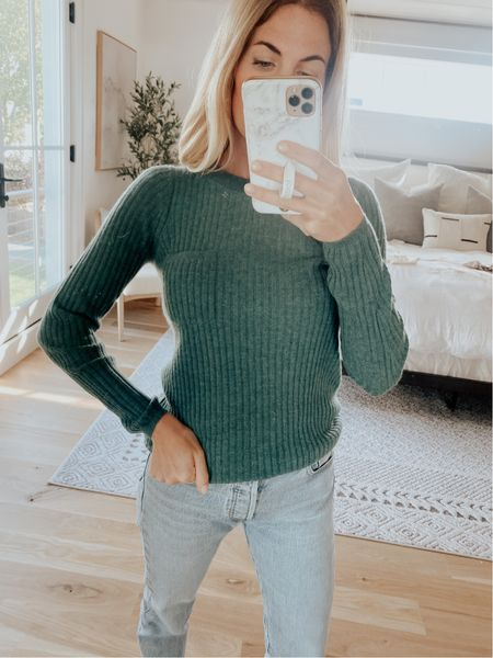 J. Crew cashmere crewneck sweater paired with Levi's denim, fall outfit, weekend outfit