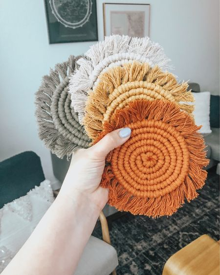 My absolute favorite macrame boho coasters! They would also make the perfect gift. Comes in so many colors! The colors are constantly changing, linked my current faves in her shop! #liketkit #LTKunder50 #LTKhome @liketoknow.it @liketoknow.it.home http://liketk.it/3jXb7