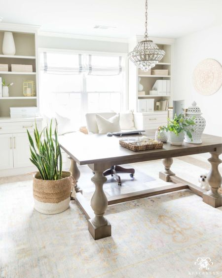 I love using this table as my desk in my home office. Home decor office decor built in cabinet Roman shade crystal chandelier document storage window seat  #LTKhome #LTKstyletip #LTKunder50