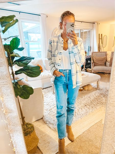 Target find: super soft $20 plaid flannel top. American Eagle soft tee on sale for $14. Wearing Small in tops 🍁   #LTKSeasonal #LTKsalealert #LTKunder50