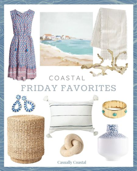 This week's Friday Favorites including this adorable dress that comes in tons of different prints (I recommend sizing down), this very affordable pillow and artwork, and gorgeous vase that's currently on clearance for under $15! Bracelet is on sale too!  @liketoknow.it @liketoknow.it.home #liketkit #LTKhome #LTKsalealert #LTKunder50 http://liketk.it/3hawD  gifts gifts for her, summer decor, summer decorations, summer home decorations, coastal decor, beach house decor, beach decor, beach style, coastal home, coastal home decor, coastal decorating, coastal house decor, home accessories decor, coastal accessories, beach vacation outfits, summer fashion, resort style, resort wear, beach style, coastal living room decor, coastal family room, living room decor, affordable neutral decor, coffee table decor, blue and white home, blue and white decor, living room furniture, furniture for sunroom, sunroom furniture, target studio mcgee, dresses for summer, summer dresses casual, summer dresses women, beach vacation dresses, beach dresses, nordstrom dresses, summer dress, summer accessories jewelry, summer accessories, summer bracelets, couch pillows, blue and white pillows, blue & white pillows, throw pillows couch, 14x20 throw pillows, lumbar pillows, lumbar throw pillow, lumbar pillows for chair, lumbar pillows for bedroom, coastal art, coastal artwork, beach art, beach artwork, wall art large, wall decor living room, artwork for home, large artwork, table runner with fringe, neutral table runner, summer tablescape, driftwood, driftwood branch, driftwood decor, grapewood branch, side tables, wicker tables, living room side tables, bedroom tables side, bedroom side tables, rattan side table, west elm, statement earrings, summer accessories, summer accessories jewelry, summer earrings, rattan earrings, raffia earrings, target home, target artwork, blue and white vase, round vases, round vase for table, small round vase, crate and barrel, affordable home decor, affordable vase