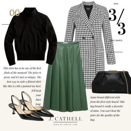 Looking to update your workwear with pieces you can wear outside of work? Try one of these skirts! They could easily be converted to a more business like look, but are still so chic without feeling stuffy.   Don't miss out on the handbag from the the first look. It's the same bag Kate Middleton was recently seen wearing and I love it!     #LTKworkwear #LTKHoliday #LTKCyberweek
