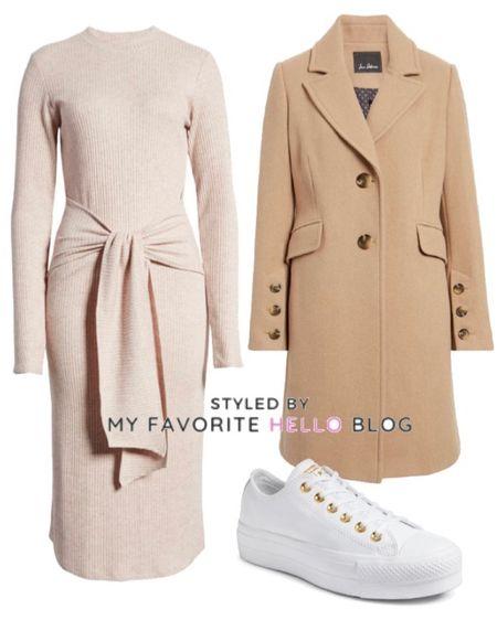 Sweater dress, camel coat, white sneakers   #LTKunder100 #LTKSeasonal #LTKworkwear