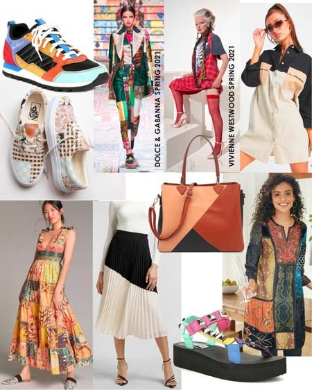 Get into the patchwork and color block trends for summer. Try patchwork sneakers, a maxi sundress or a tunic. Rock the color block trend with a handbag, midi pleated skirt, button down shirtdress or sandals.  #LTKstyletip #LTKunder100 #LTKSeasonal