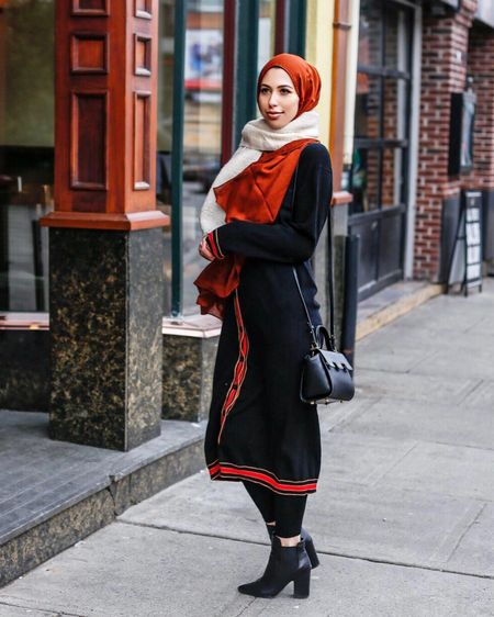 Cardigan cozy🐻 @hijabhouse I wore this cardigan like a sweater dress and I got a lot of compliments while I was out! Yes people still compliment others on streets as we all should. It puts a smile on faces 😊 Boots and scarf are linked here. http://liketk.it/2tJPw #liketkit @liketoknow.it