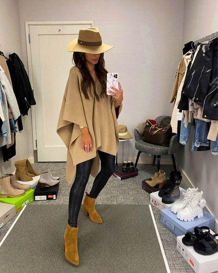 Fall outfit ideas  Camel poncho Spanx Faux Leather Leggings  Marc Fisher Suede Booties  Rag & Bone Fedora   #LTKSeasonal #LTKworkwear #LTKstyletip