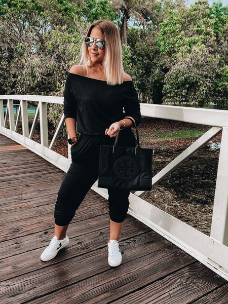 Jumpsuit,  veja shoes,  neutral shoes, spring shoes, Tory Burch tote, aviator sunnies, quay Australia high key, gold necklace, stud earrings, LV watch band   #LTKunder50 #LTKunder100 #LTKstyletip