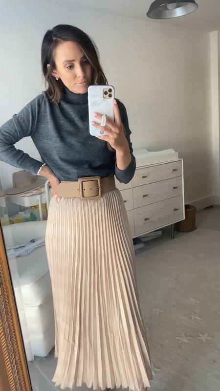 pleated skirt, turtleneck, wool sweater, beige belt   #LTKunder100 #LTKunder50