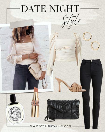Date night style, ruched blouse, denim jeans, YSL handbag, braided sandals; gold jewelry, beauty, lip stick, perfume, #stylinbyaylin #Stylinbyaylincollection  #LTKstyletip #LTKshoecrush #LTKitbag