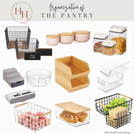 Organizing the pantry and decanting dry goods saves so much room!  Pantry organization   kitchen organization   canisters   baskets   lazy Susan   oxo   neat method   dry goods   pretty pantry  #LTKfamily #LTKhome #LTKstyletip
