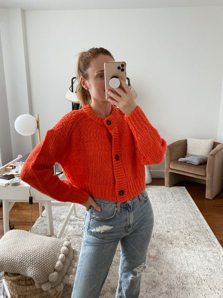 Everlane red chunky knit cardigan for fall. Also comes in other colors! Wearing a size small   #LTKSeasonal