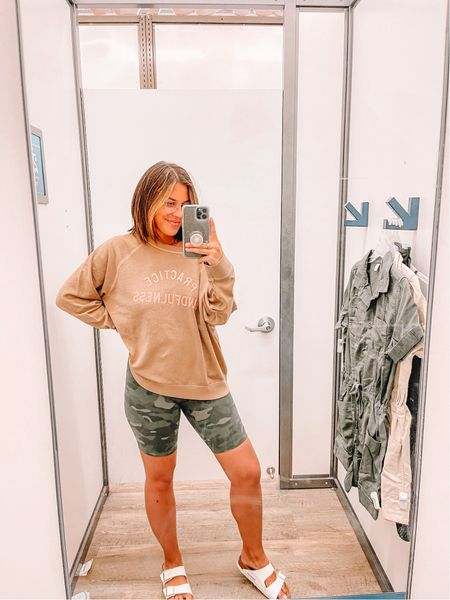 Love a good oversized sweatshirt and biker shorts. So comfy for a day around the house.   #LTKstyletip #LTKunder50 #LTKfit