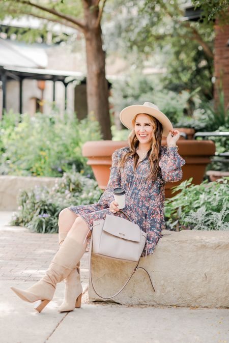 This floral dress is perfect for fall and under $30! Linking it along with these boots, hat, and handbag. 💗 #falloutfitinspo #fallstyle   #LTKunder50 #LTKFall #LTKstyletip