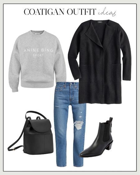 Sweater Blazer, Cardigan Coat, Coatigan, Black Coatigan  The J. Crew Sweater Blazer with an Anine Bing sweatshirt, straight leg jeans, a Cuyana backpack (love their bags), and Frame western booties (on sale). For more coatigan outfit ideas and cardigan coats worth a look this season, visit NatalieYerger.com.
