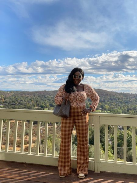 Wild fable floral print top with knit flare pants and Chelsea boots