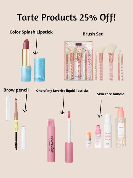 Tarte products! Brow pencil, makeup brush set, lipstick, skin care set.   #LTKitbag #LTKsalealert #LTKSeasonal