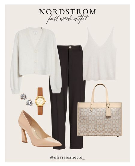 Nordstrom workwear outfit. 🤎   Workwear, bag, fall outfit, office look, heels, Coach bag, watch earrings  #LTKunder50 #LTKSeasonal #LTKunder100