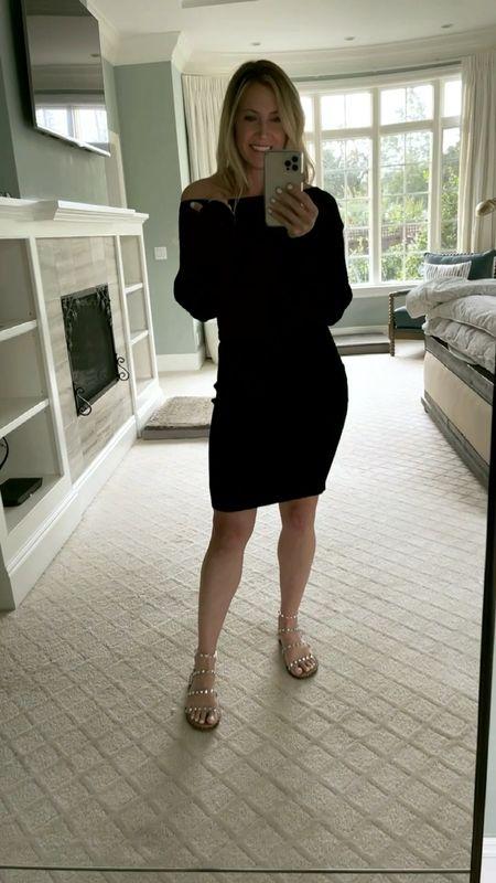 This warm dress was perfect for a birthday dinner with my son! || #blackdress #oneshoulder #sweaterdress  #LTKSeasonal #LTKsalealert #LTKfamily