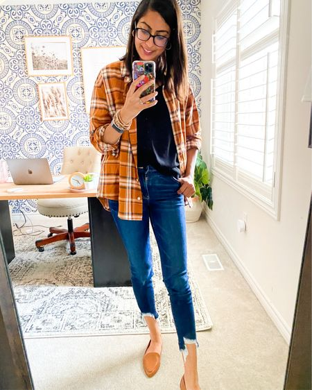 Another fall favourite: same black cami + flannel + distressed denim + loafers. Boom. Done!   http://liketk.it/2Xn7Y #liketkit @liketoknow.it