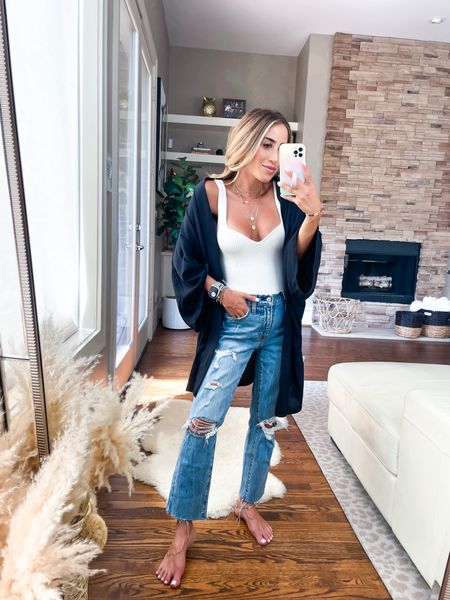 Cardigan smallest size use code Alexisbel // Jeans size 24 short bodysuit size Xs   #LTKunder100 #LTKunder50 #LTKsalealert